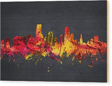 Miami Cityscape 07 Wood Print by Aged Pixel