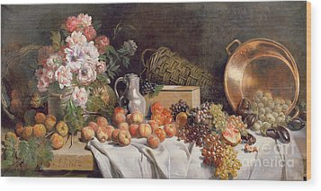 Still Life With Flowers And Fruit On A Table Wood Print by Alfred Petit