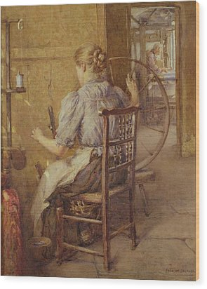 The Spinning Wheel  Wood Print by Frederick William Jackson