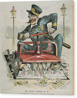 Police Corruption Cartoon Wood Print by Granger