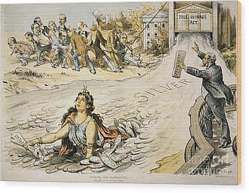 Free Silver Cartoon, 1890 Wood Print by Granger