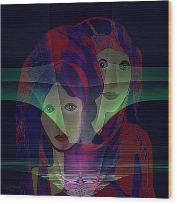 036 - Two Faces Of  Night  Wood Print by Irmgard Schoendorf Welch