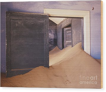 Abandoned House Filled With Drifting Sand Wood Print by Jeremy Woodhouse