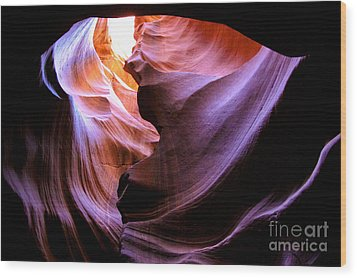 Antelope Slot Canyons Wood Print by Ryan Kelly