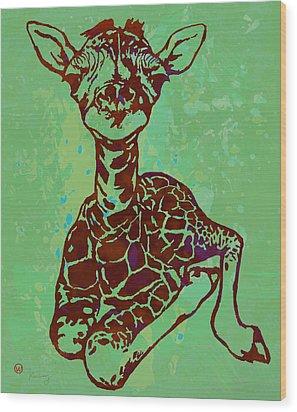 Baby Giraffe - Pop Modern Etching Art Poster Wood Print by Kim Wang