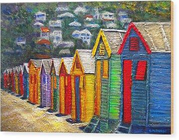 Beach Houses At Fish Hoek Wood Print by Michael Durst