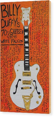 Billy Duffy Gretsch White Falcon Wood Print by Karl Haglund