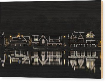 Boathouse Row - Philadelphia Wood Print by Brendan Reals