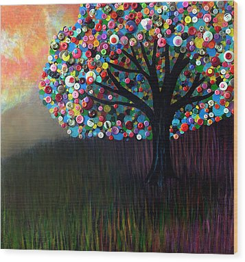 Button Tree 0004 Wood Print by Monica Furlow