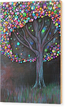 Button Tree 0006 Wood Print by Monica Furlow