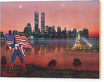 Captain America Wood Print by Michael Rucker