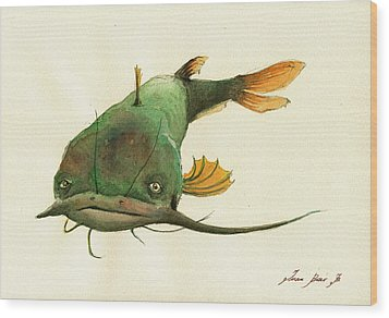 Channel Catfish Fish Animal Watercolor Painting Wood Print by Juan  Bosco