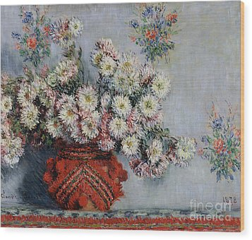 Chrysanthemums Wood Print by Claude Monet