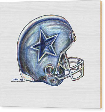 Dallas Cowboys Helmet Wood Print by James Sayer