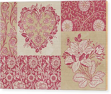 Deco Heart Red Wood Print by JQ Licensing