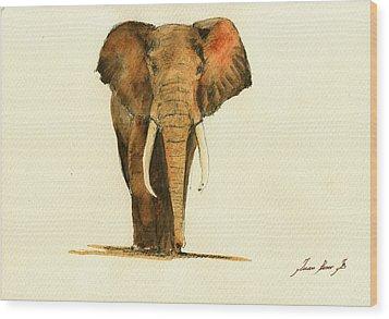 Elephant Watercolor Wood Print by Juan  Bosco