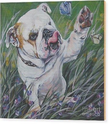 English Bulldog Wood Print by Lee Ann Shepard
