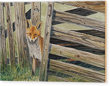 Fox At The Gate Wood Print by Dag Peterson