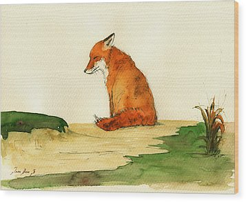 Fox Sleeping Painting Wood Print by Juan  Bosco