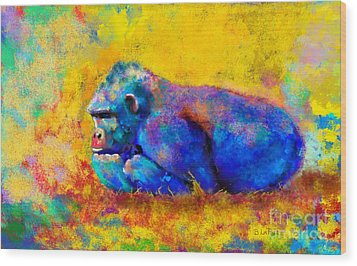 Gorilla Gorilla Wood Print by Betty LaRue