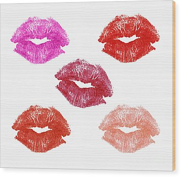 Graphic Lipstick Kisses Wood Print by Blink Images