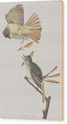 Great Crested Flycatcher Wood Print by John James Audubon