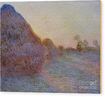 Haystacks Wood Print by Claude Monet