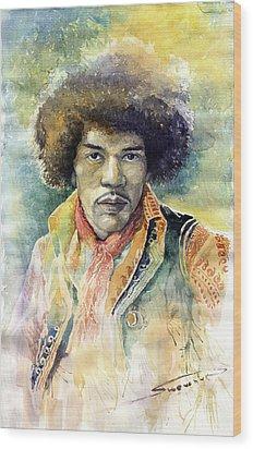 Jimi Hendrix 01 Wood Print by Yuriy Shevchuk