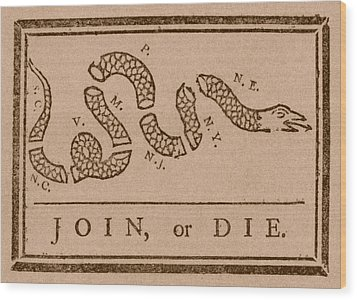 Join Or Die Wood Print by War Is Hell Store