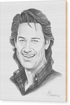 Kurt Russell Wood Print by Murphy Elliott