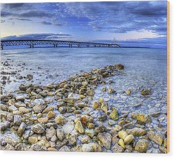 Mackinac Bridge From The Beach Wood Print by Twenty Two North Photography