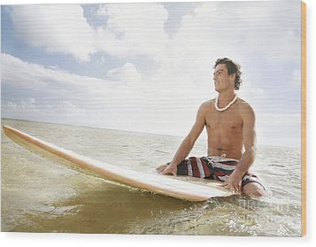 Male Surfer Wood Print by Brandon Tabiolo - Printscapes