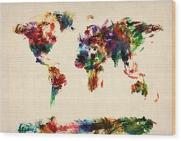 Map Of The World Map Abstract Painting Wood Print by Michael Tompsett