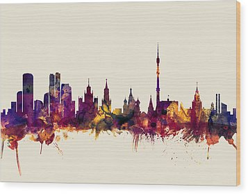 Moscow Russia Skyline Wood Print by Michael Tompsett