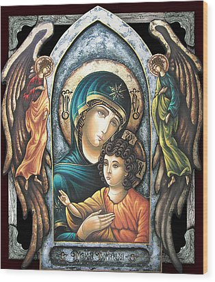 Mother Of God Wood Print by Iosif Ioan Chezan