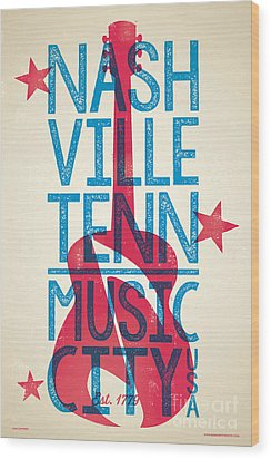 Nashville Tennessee Poster Wood Print by Jim Zahniser