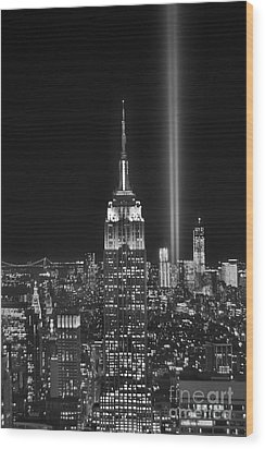 New York City Tribute In Lights Empire State Building Manhattan At Night Nyc Wood Print by Jon Holiday