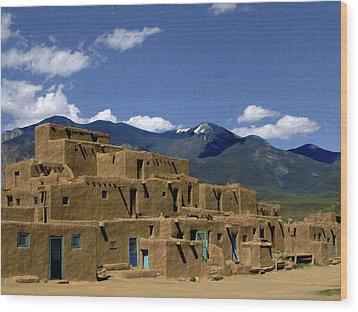 North Pueblo Taos Wood Print by Kurt Van Wagner
