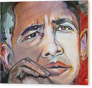 Obama II Wood Print by Valerie Wolf