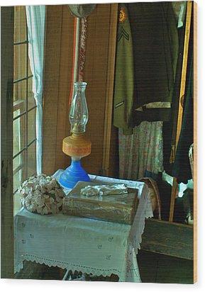 Oil Lamp And Bible Wood Print by Douglas Barnett