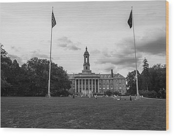 Old Main Penn State Black And White  Wood Print by John McGraw