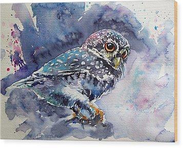 Owl At Night Wood Print by Kovacs Anna Brigitta
