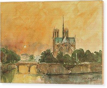 Paris Notre Dame Wood Print by Juan  Bosco