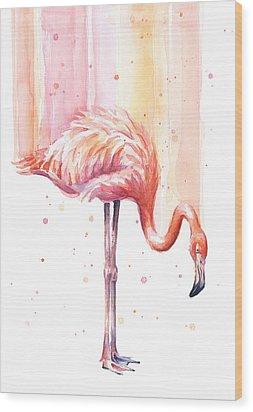 Pink Flamingo - Facing Right Wood Print by Olga Shvartsur