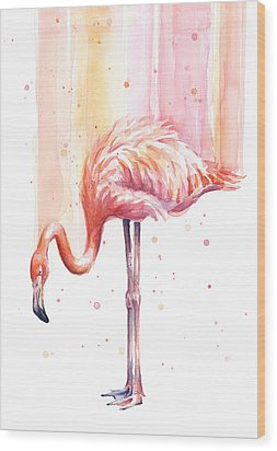 Pink Flamingo Watercolor Rain Wood Print by Olga Shvartsur