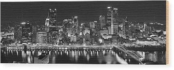 Pittsburgh Pennsylvania Skyline At Night Panorama Wood Print by Jon Holiday