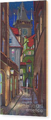 Prague Old Street  Wood Print by Yuriy  Shevchuk