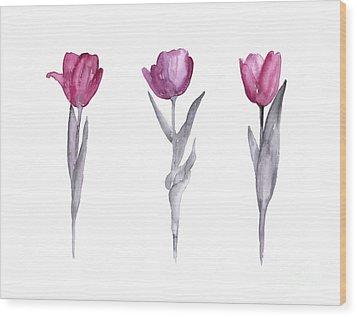 Purple Tulips Watercolor Painting Wood Print by Joanna Szmerdt