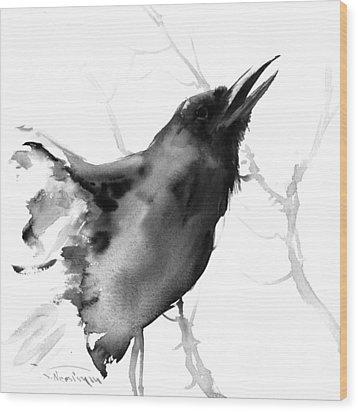 Raven Wood Print by Suren Nersisyan