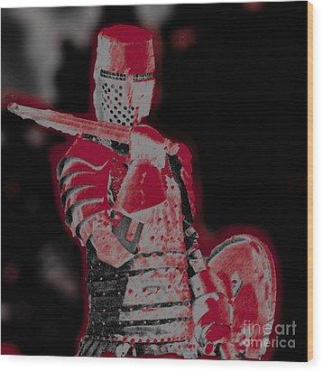 Red Knight Wood Print by Lillian Michi Adams